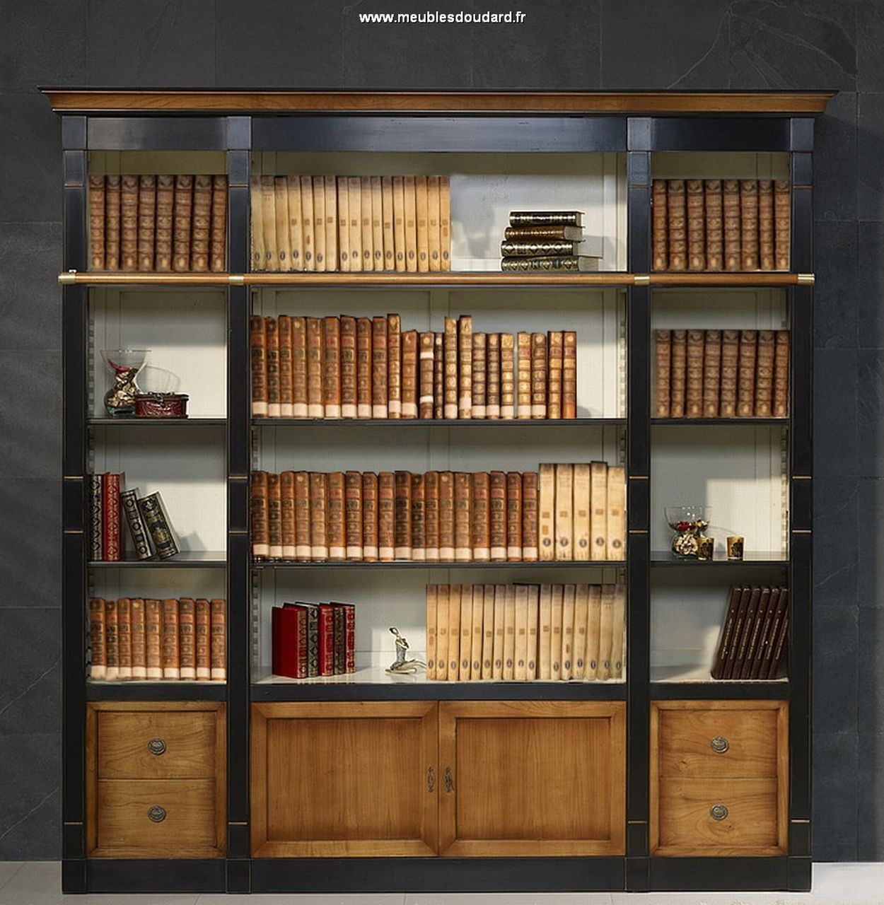 meuble biblioth que biblioth que merisier biblioth que directoire en bois massif. Black Bedroom Furniture Sets. Home Design Ideas