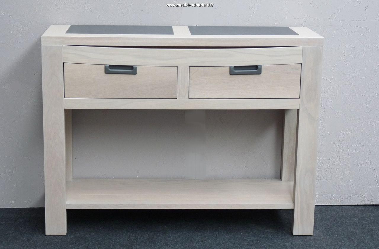 console contemporaine en bois et c ramique. Black Bedroom Furniture Sets. Home Design Ideas
