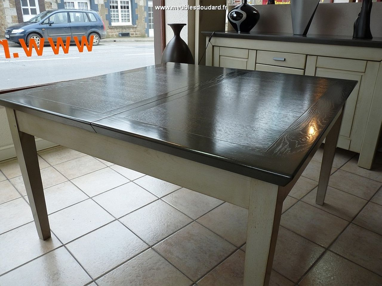 Bahut contemporain en ch ne couleur gris r f soprano Table carree bois massif avec rallonge