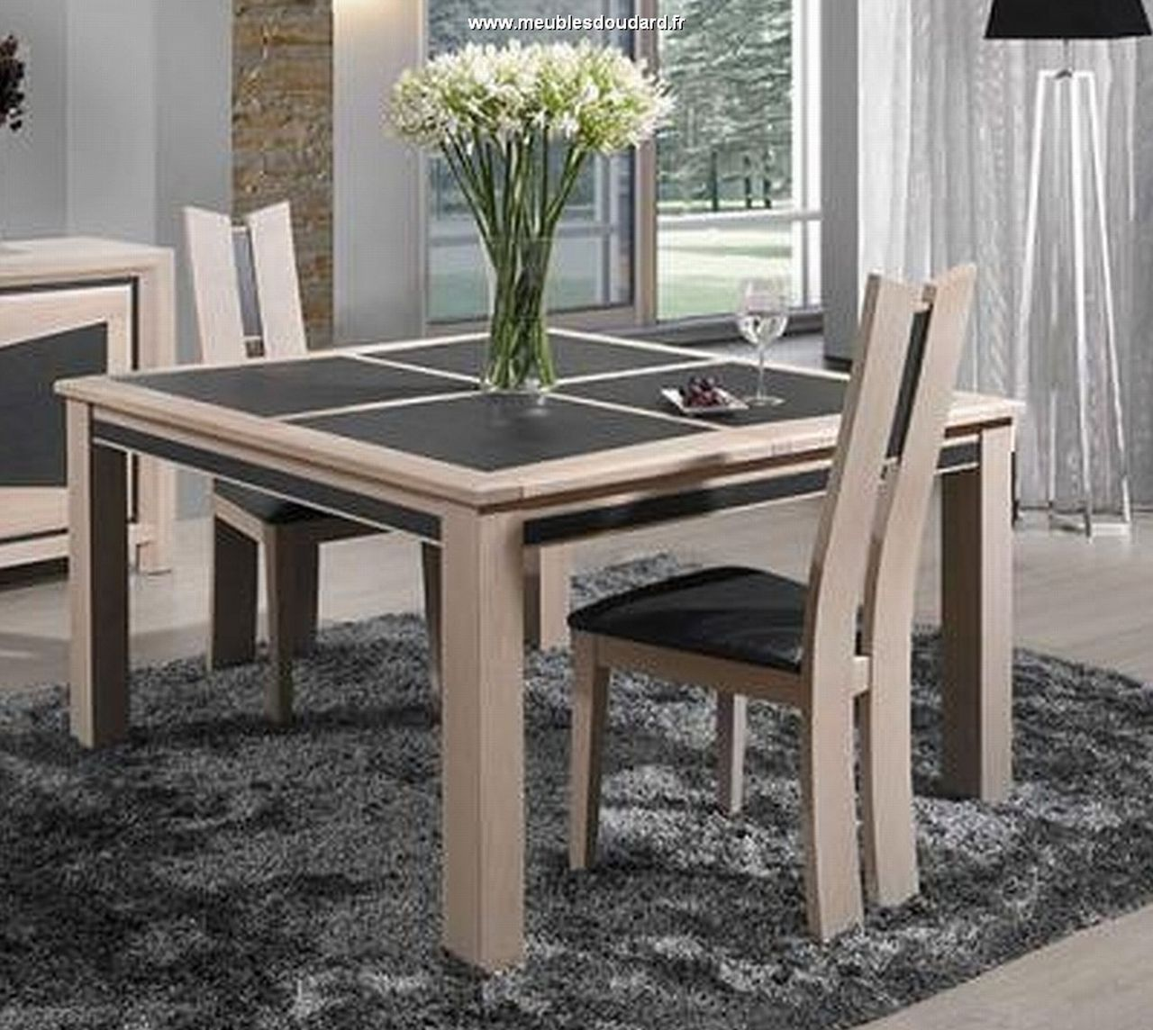 Table carr e dessus c ramique for Table carree 8 personnes avec rallonge