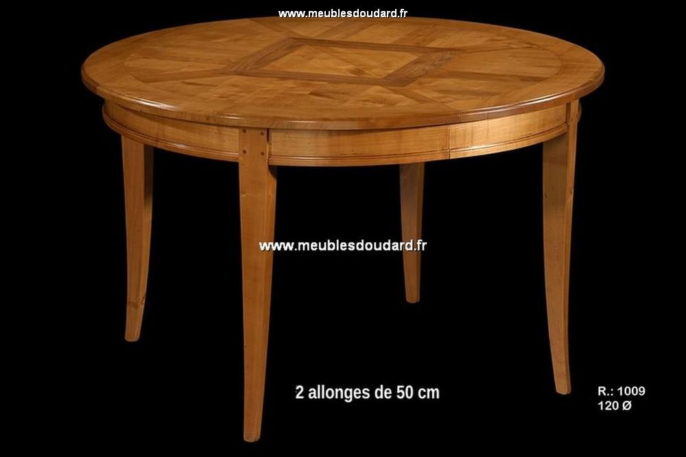 Table ronde parquet e r f r1009 merisier for Table ronde en bois massif avec rallonge