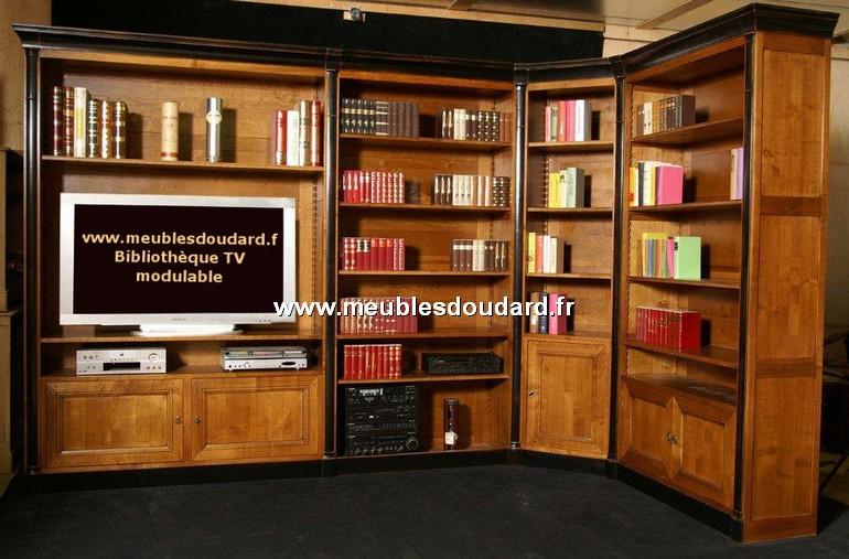 biblioth que tv d 39 angle ref ines 4 l ments merisier. Black Bedroom Furniture Sets. Home Design Ideas