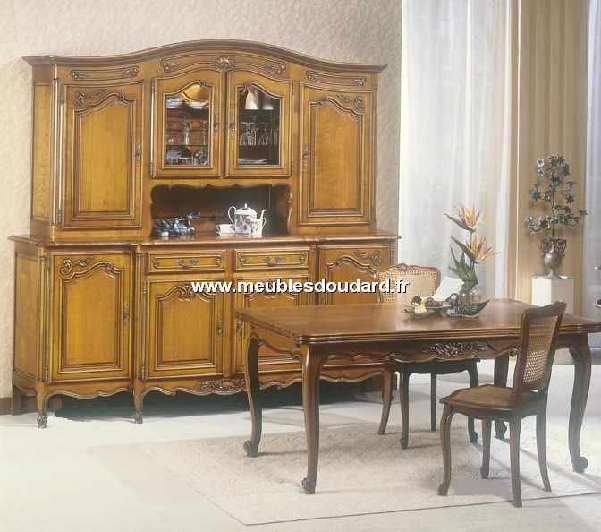 buffet vaisselier 4 portes louis xv ref 107 000 merisier. Black Bedroom Furniture Sets. Home Design Ideas