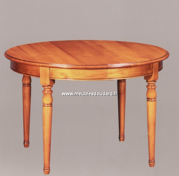 Table ronde de salle manger en merisier louis philippe 2 for Table ronde allonges