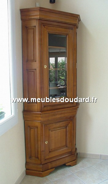 Meuble d 39 angle louis philippe 2 corps en merisier r f des for Meuble louis philippe