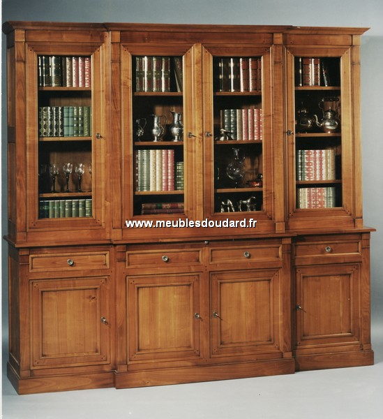 biblioth que directoire 4 portes corps avanc. Black Bedroom Furniture Sets. Home Design Ideas