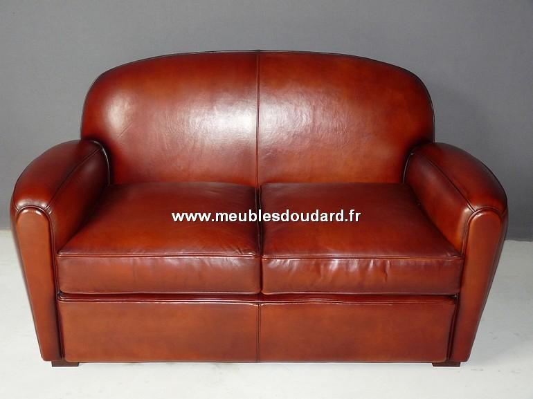 Canap club 2 places en cuir basane - Canape club en cuir ...