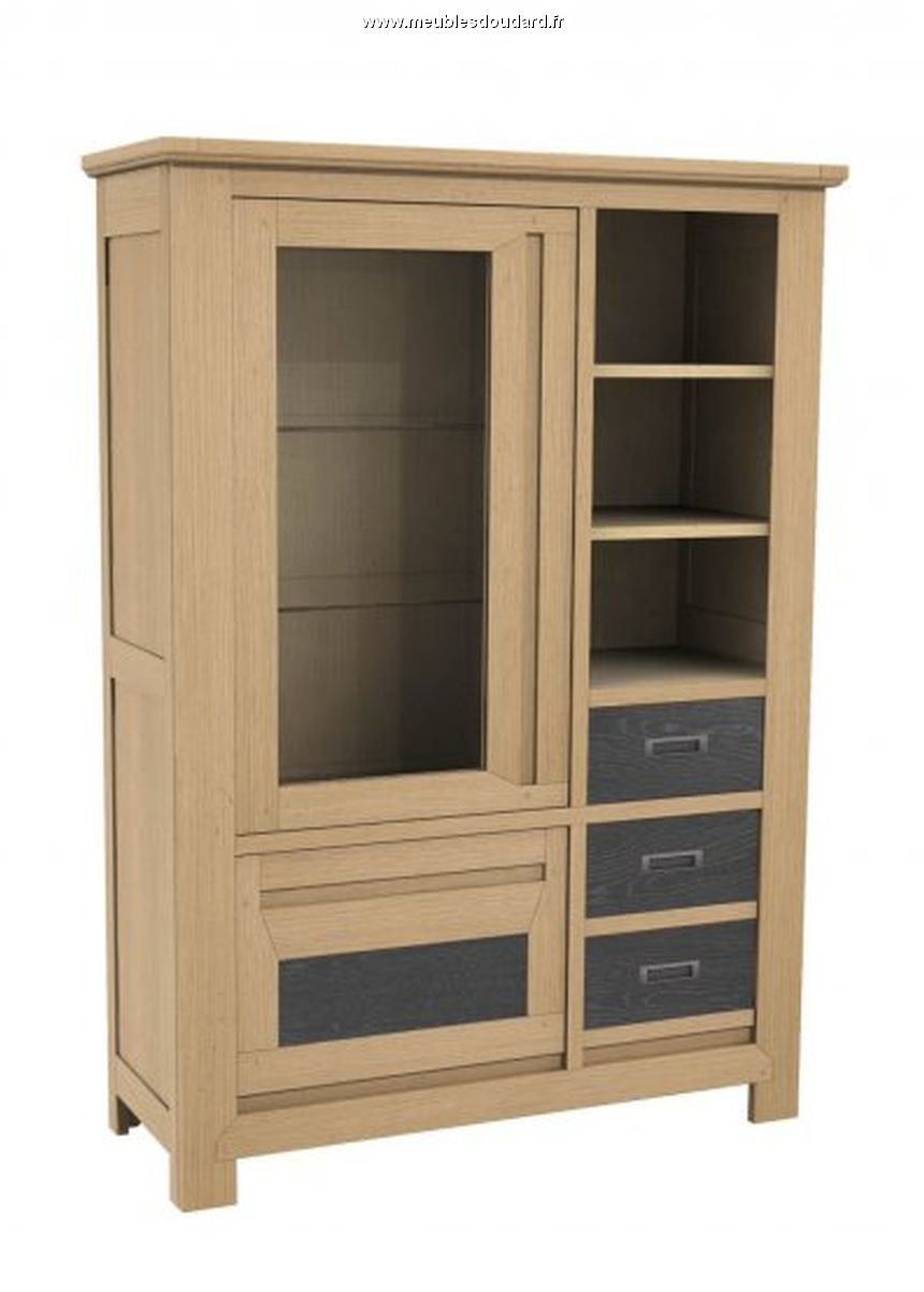 Buffet bas moderne en ch ne naturel bahut 3 portes for Armoire de rangement salon