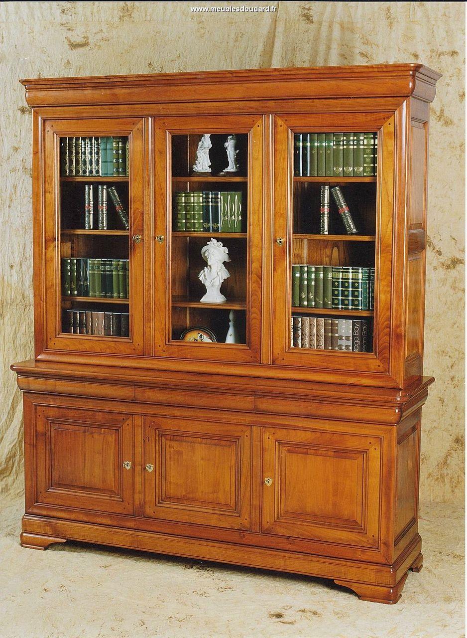 Biblioth que bois massif merisier for Meuble 3 portes