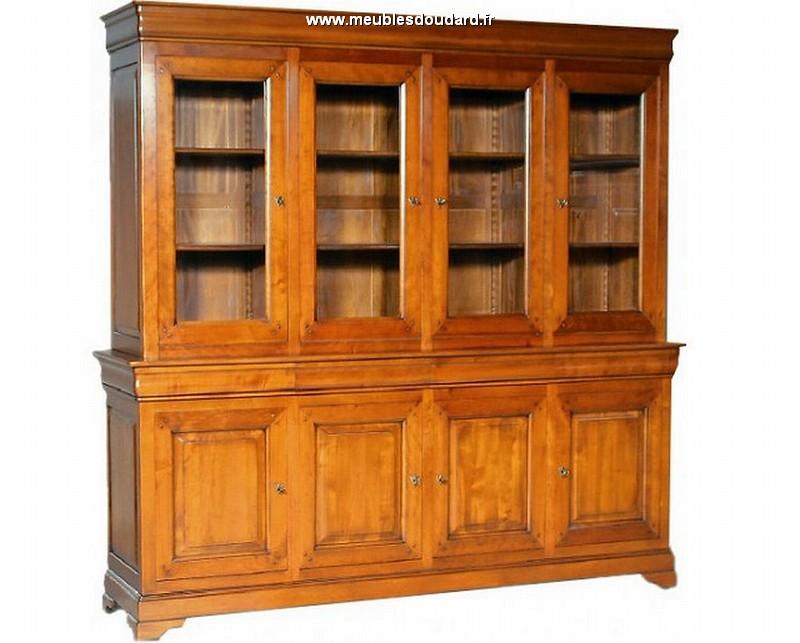 Biblioth que 4 portes merisier for Porte vitree pour meuble
