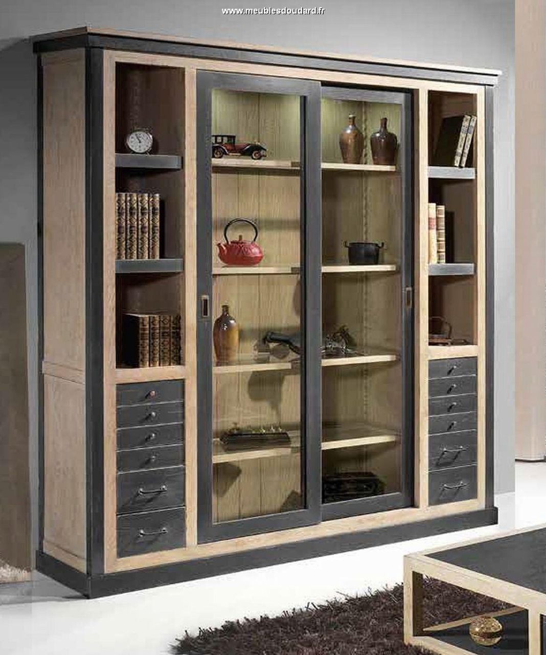 Biblioth que moderne en bois massif portes coulissantes - Bibliotheque avec portes ...