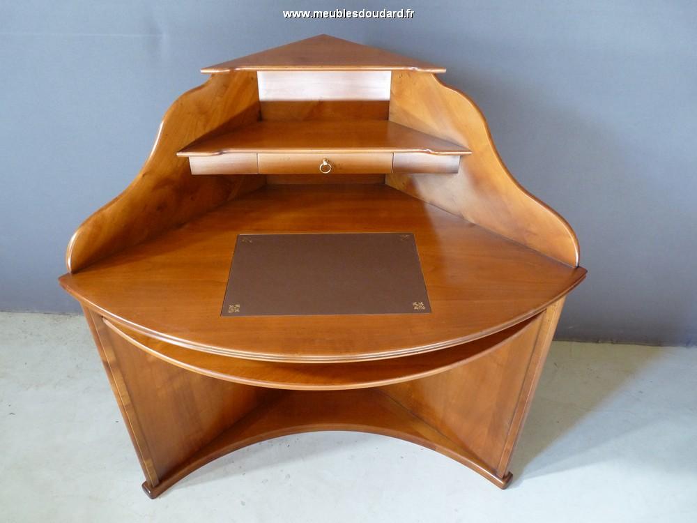 Bureau d 39 angle merisier louis philippe for Bureau d angle en bois massif