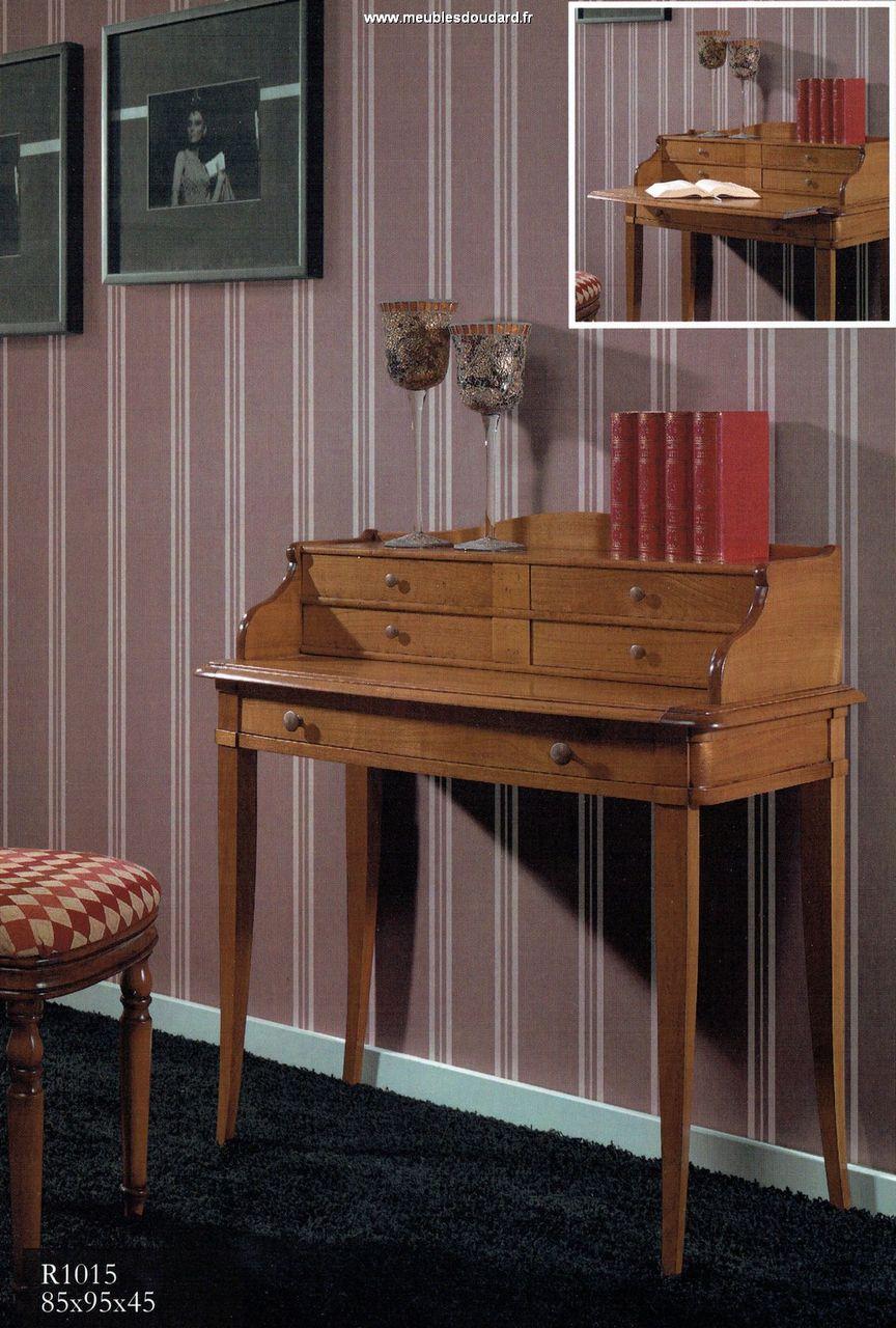 Bureau bonheur du jour 5 tiroirs en merisier r f r1015 for Bureau bonheur du jour ancien