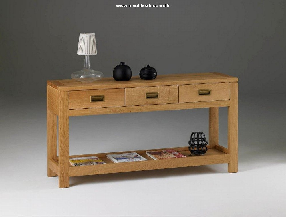 console moderne en bois massif meuble console d 39 entr e en ch ne naturel console de couloir. Black Bedroom Furniture Sets. Home Design Ideas