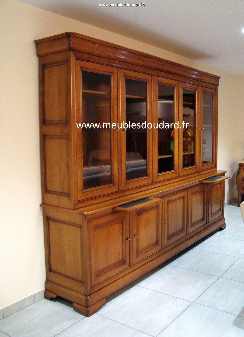 biblioth que sur mesure en merisier avec 5 portes. Black Bedroom Furniture Sets. Home Design Ideas