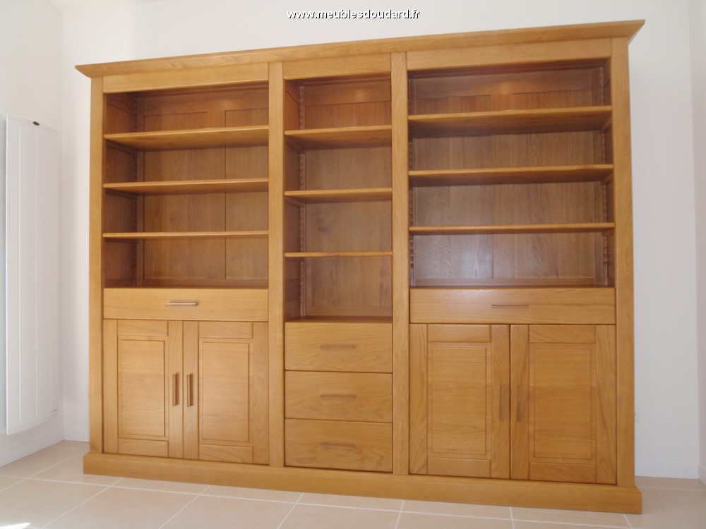 Biblioth que moderne en bois massif biblioth que en ch ne for Meuble bibliotheque