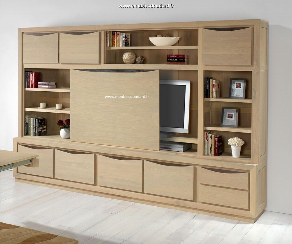 Biblioth que moderne en bois massif biblioth que en ch ne naturel sur mesure am nagement - Meuble tv bibliotheque ...