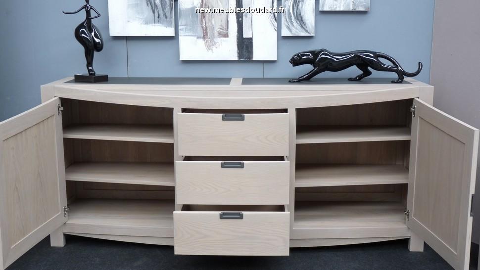 bahut 2 portes 3 tiroirs ch ne blanchi r f bp. Black Bedroom Furniture Sets. Home Design Ideas