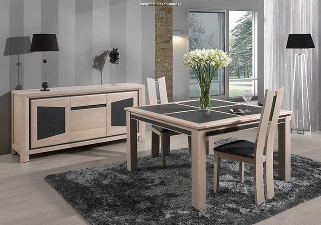 Salle manger contemporaine en ch ne massif et c ramique for Chaise de table a manger design