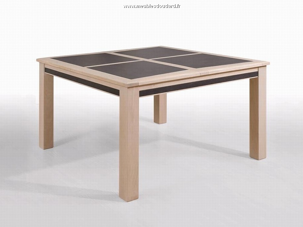 Table carr e dessus c ramique for Table en chene blanchi