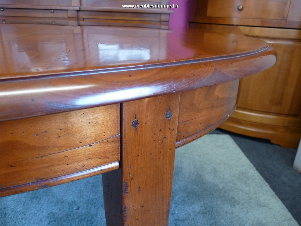 table ovale merisier pieds sabres