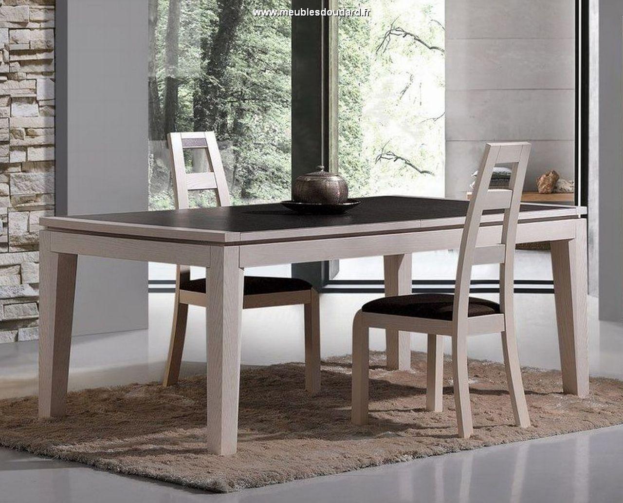 Salle à manger moderne en bois blanchi STELLA