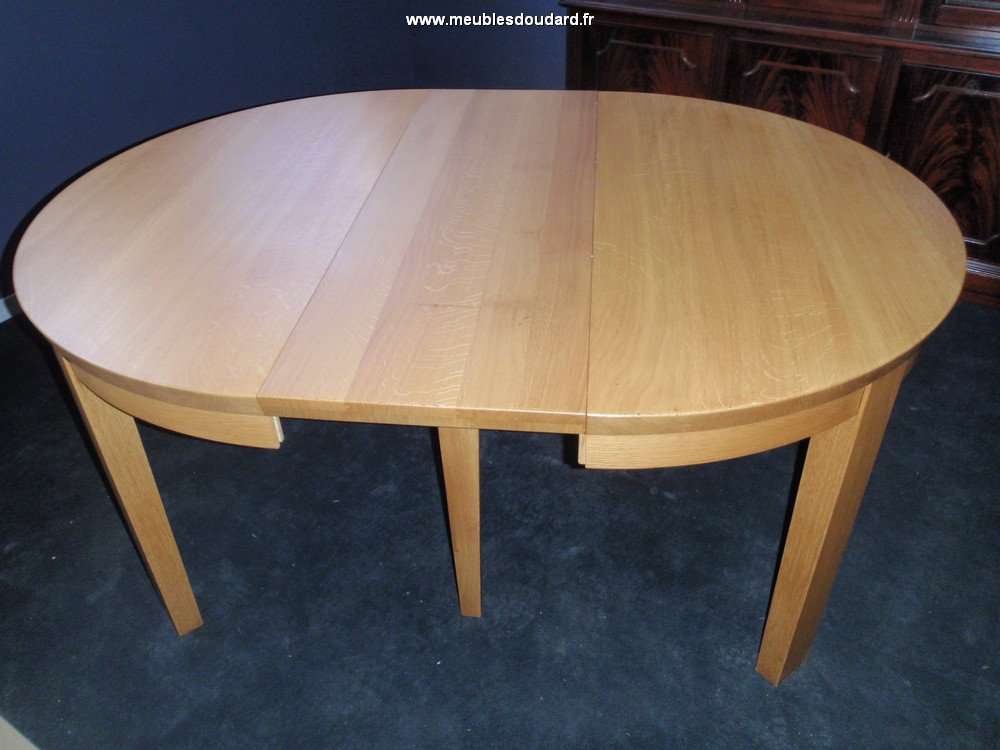 Table ronde moderne avec 4 allonges for Table ronde en chene