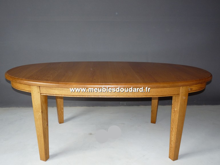 Table a manger en bois massif rustique - Table ovale a rallonge ...