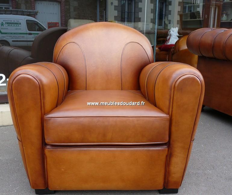Fauteuil club en cuir v ritable ref charlot - Veritable fauteuil club ...