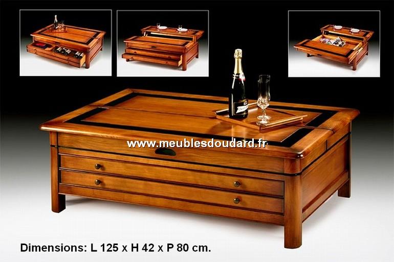 Table basse de salon merisier relevable r f t800 for Table basse en merisier