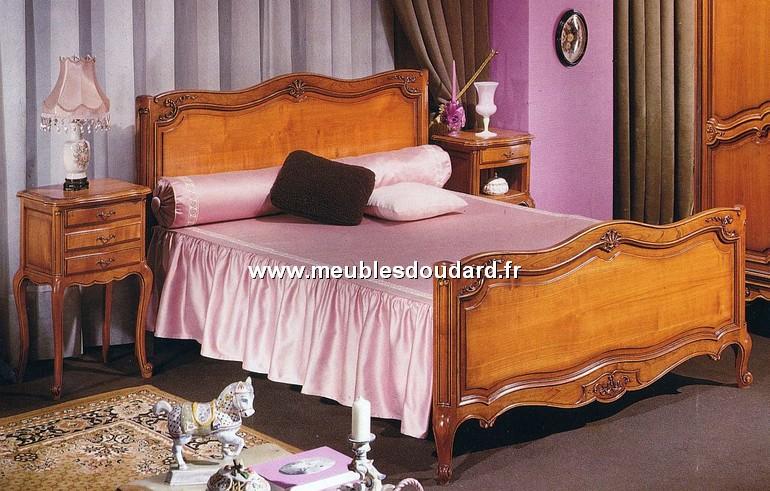 Bois de lit r gence 160 x 200 cm merisier r f lb - Tete de lit merisier 160 ...