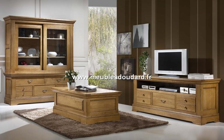 Meuble tv 3 tiroirs ref b nodet en ch ne for Eco participation meuble