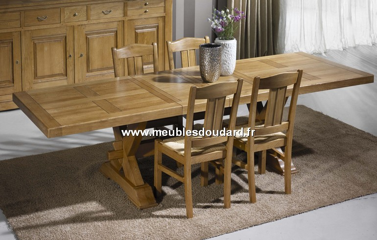table rectangulaire pieds en croix ref 140524 en ch ne. Black Bedroom Furniture Sets. Home Design Ideas