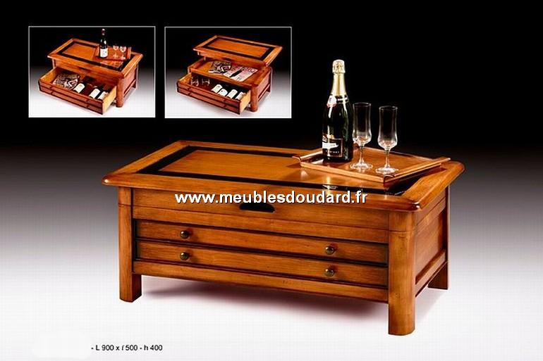 table basse merisier de salon rangement bouteilles r f t500. Black Bedroom Furniture Sets. Home Design Ideas