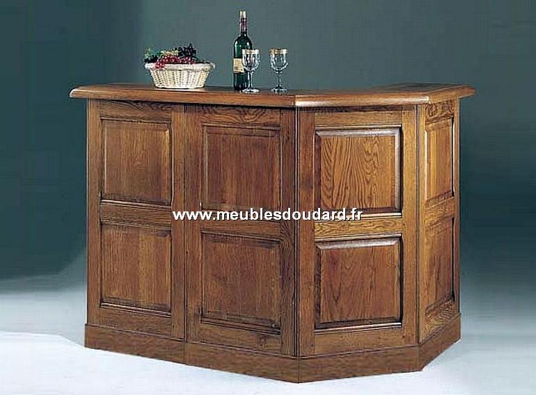 Meuble bar comptoir en ch ne sur plinthe r f mu190b for Comptoir bar meuble