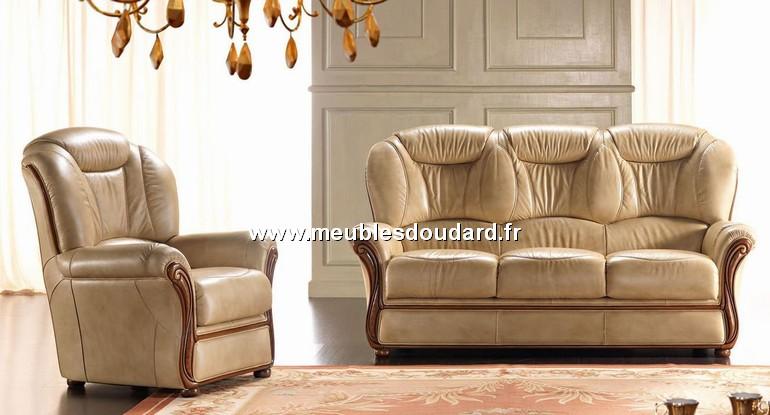 Salon cuir r f tania canap 2 fauteuils for Salon canape cuir